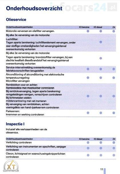 Bmw Service Schedule Dutch X3 Z4